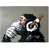 Muzagroo Art Painted by Hand Oil Paintings Listen to Music Gorilla Canvas Pictures Large Canvas Art for Living Room Wall Decor L