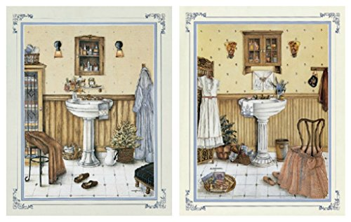 2 His Her Vintage Bathroom Art Prints Bath Wall Decor Buy Online