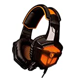 SADES 738 Stereo Headset 3.5mm plug Over Ear Wired White Stereo Headset Headband Gaming Earphone Bass Noise Canceling Isolating Headphones with Microphone Breathing Colorful LED light for PC Gamer Gaming Tablet Laptops Mobile Phone MP3 MP4 By AFUNTA -Orange