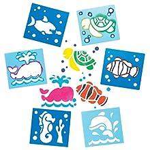 Baker Ross- Plantillas lavables de plástico de animales marinos (Pack de 6) - Actividad de manualidades infantiles para pintar
