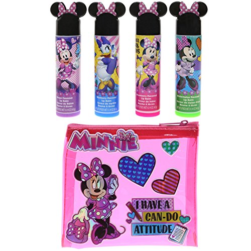 Townley Girl Minnie Mouse Sparkly Lip Balm for Girls, 4 Pack with Decorative Carrying Bag by TownleyGirl
