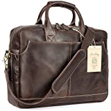NiceEbag 15.6 Inches Laptop Briefcase Genuine Leather Messenger Bag Vintage Laptop Shoulder Bag Men Satchel Bag