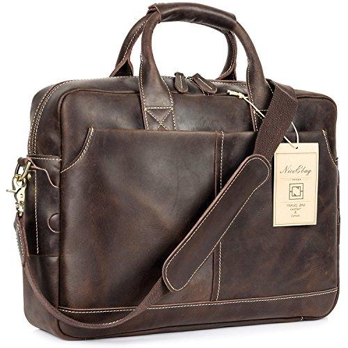 NiceEbag 15.6 Inches Laptop Briefcase Genuine Leather Messenger Bag Vintage Laptop Shoulder Bag Men Satchel Bag by NiceEbag