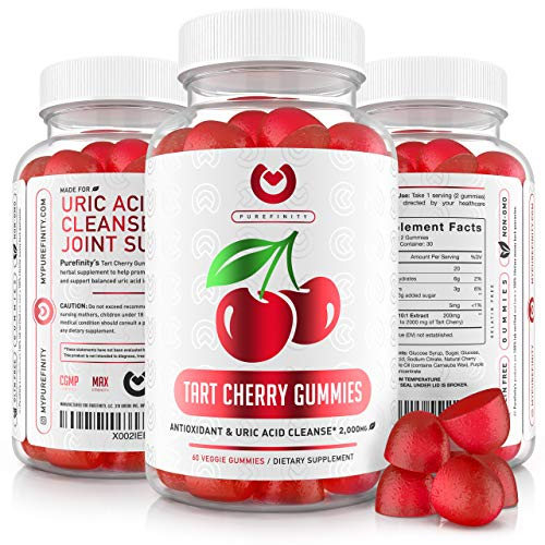 Purefinity Tart Cherry Gummies – RawTart Cherry Extract Gummy Alternative to Tart Cherry Capsules, Juice, Pills - Advanced Uric Acid Cleanse, Powerful Antioixidant w/ Joint Support - 60 Vegan Gummies