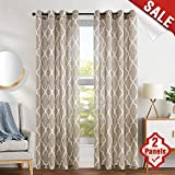 Cheap Moroccan Tile Design Linen Curtains 84 inch 2 Panels Living Room Window Curtains Bedroom Kitchen Drapes 2 Panels Taupe on Flax