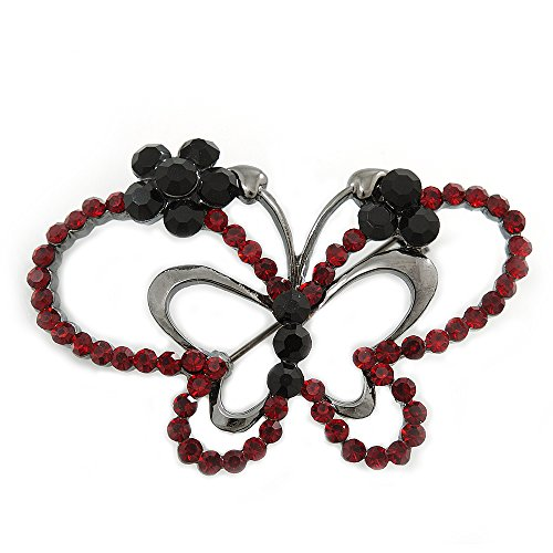 Avalaya Ruby Red Coloured Crystal Double Butterfly Brooch in Gun Metal - 52mm