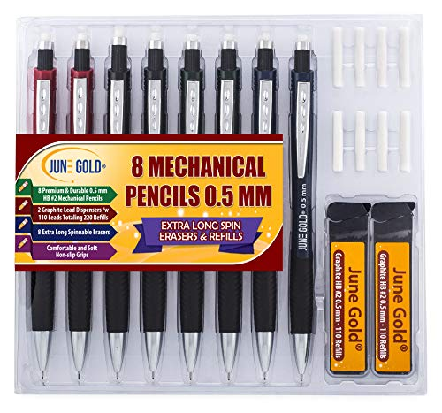 June Gold 8 Pack 0.5 mm HB #2 Mechanical Pencils, Extra Long Spin Eraser, 2 Lead Dispensers/w 220 Refills & 8 Refill Erasers, Break Resistant Lead, Soft Non-Slip Grip