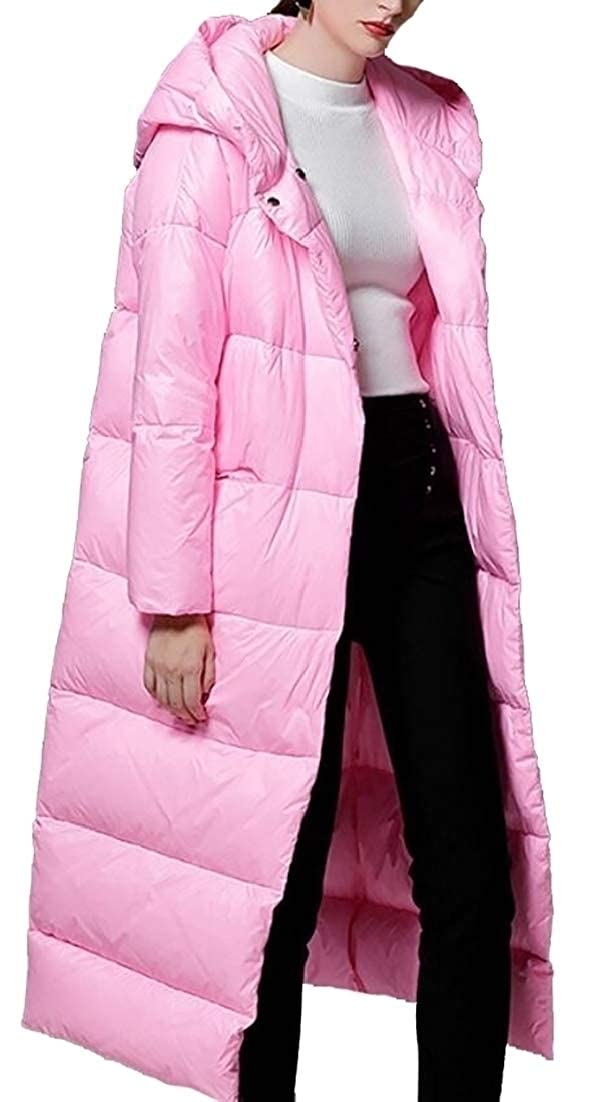 Pink M EKU Women's Fashion Solid color Hooded Coats Down Parkas Long Jacket Overcoat