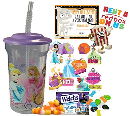 Disney Princess Halloween Redbox Movie Night Fun Sip Favor Cup! Pre-Filled & Ready For Giving! Includes Keepsake Tumbler, Redbox Rental, Popcorn, Candy & Favors!