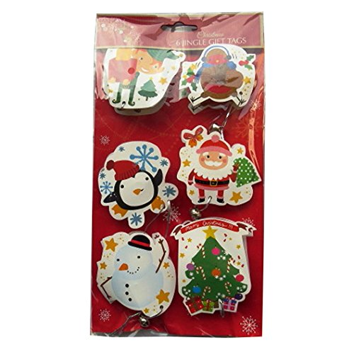 lity Glittered Gift Tags – Pack of 6 – Children's Christmas Themes - Each Tag Includes a Silver Bell ()