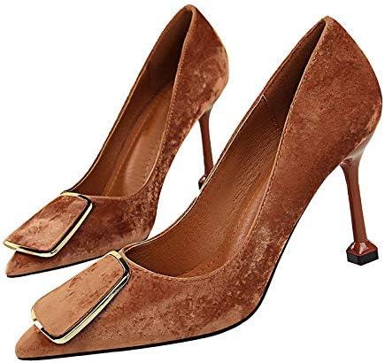 ZHEYU Shoes Woman Concise Women Suede Material Buckle Shoes Party Wedding Button Crude High Heel Women Pumps
