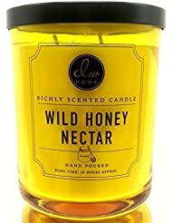 Decoware Richly Scented Wild Honey Nectar 2-Wick Candle 14.8 Oz. In Heavy Yellow Glass Container With Lid