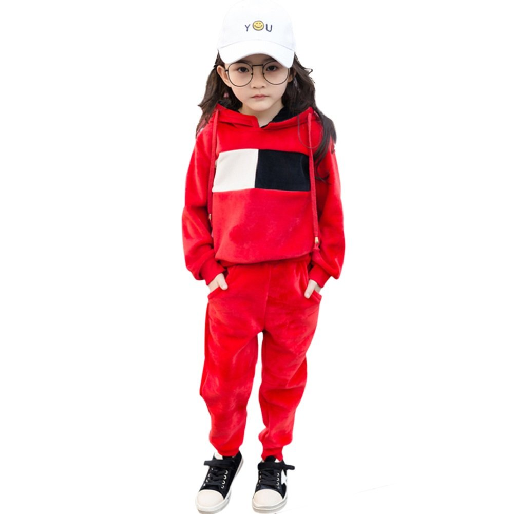 Rexury Girl's Hoodie and Pants Set Velour Sweatsuit Tracksuit 2 Piece Set,Red,130/height 47.2-51.1