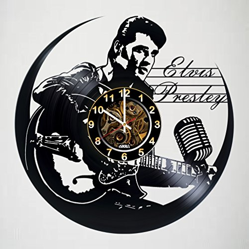 Elvis Presley - Vinyl Record Wall Clock - Poster - Get unique living room wall decor - Gift ideas for boys and girls, friends, men and women – Legendary King Unique Art Design