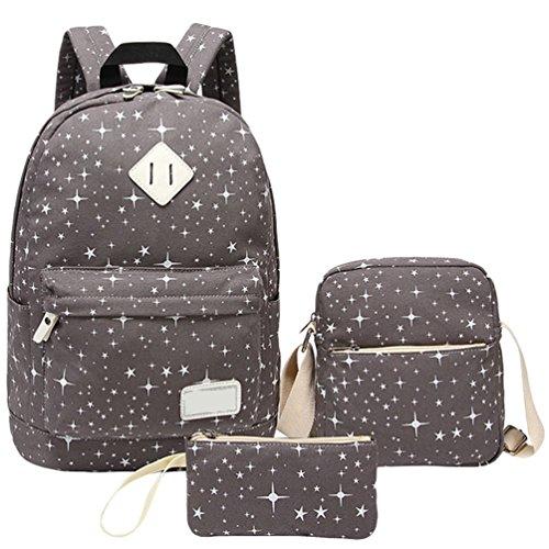 WanYang 2 Piezas/ 3 PiezasLona Backpack Mochilas Escolares Mochila Escolar Casual Bolsa Viaje Gris