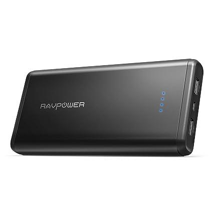 Portable Charger RAVPower 20000mAh USB External Battery Pack Dual iSmart 2.0 USB Ports, 3.4A Max Output, 2A Input Power Bank iPhone, iPad, Galaxy ...