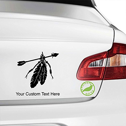 Stickerslug Custom Black 8 inch Native American Indian Feathers custom text decal sticker for car truck window bumper boat laptop tablet customizable text stickers