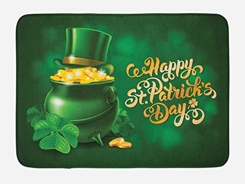 Ambesonne St. Patrick's Day Bath Mat, Large Pot of Gold Leprechaun Hat and Shamrocks Greetings 17th March, Plush Bathroom Decor Mat with Non Slip Backing, 29.5 W X 17.5 L Inches, Gold and Emerald ()