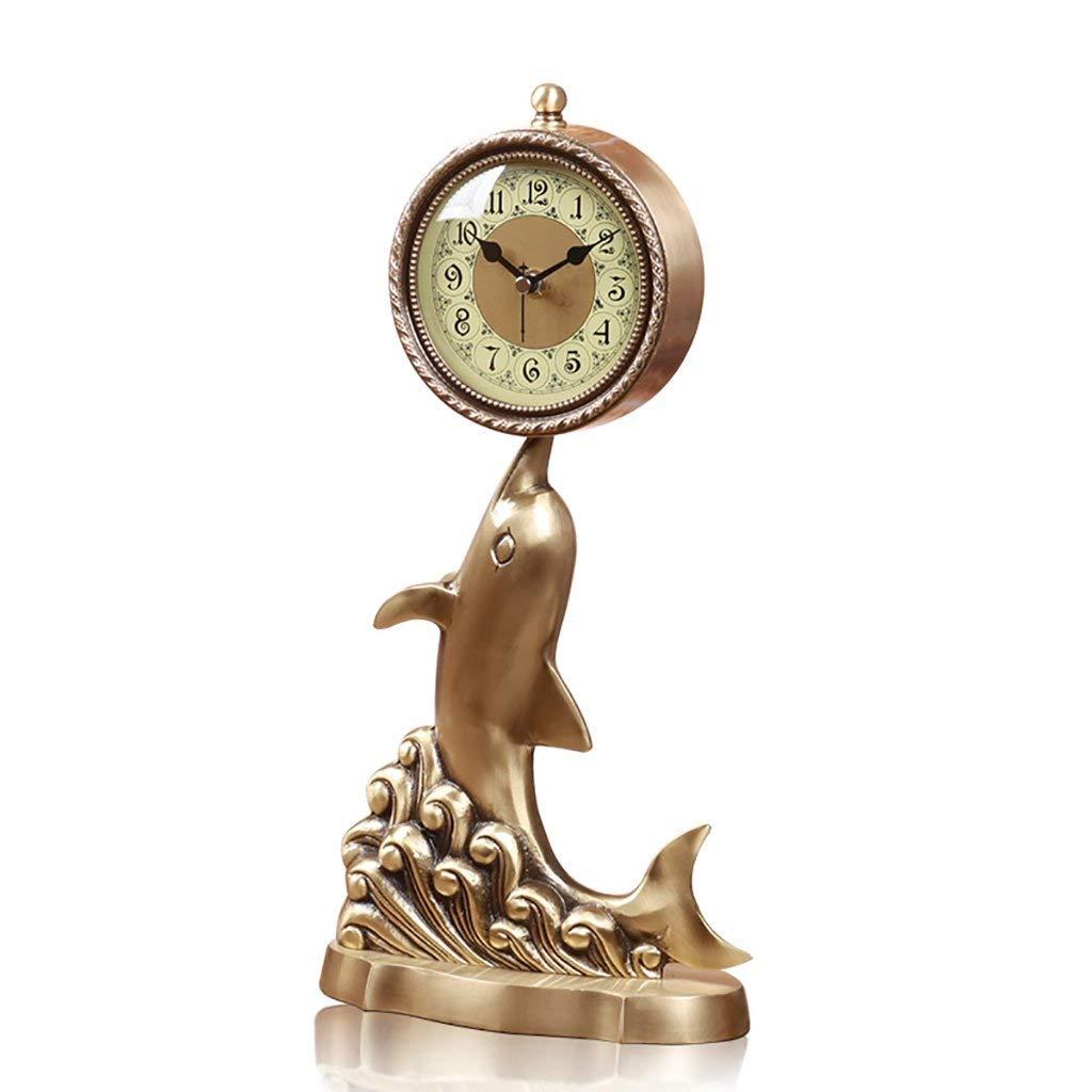デスククロックファミリークロックヨーロッパドルフィン、純銅ミュート装飾リビングルームベッドサイド置時計リビングルームの寝室のオフィスに適して B07THVV8BD