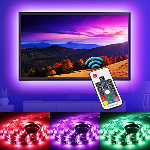 Led Strip Lights - Nicewell 6.5ft USB TV LED Backlight Dimmable Bias Lightning for 32-60in TV with Remote 20 Color【Upgrade】