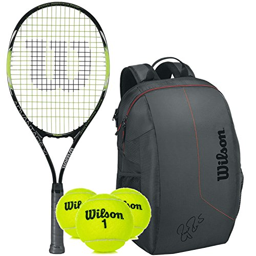(Wilson Advantage XL Pre-Strung Oversized/Extended Black/Green Tennis Racquet/Racket (4 3/8
