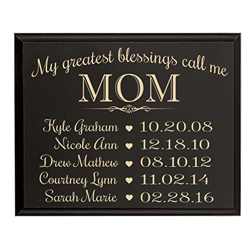 or Mom with Family Established Year wall plaque with children's names and birth dates to remember My Greatest blessings call me Mom by Dayspring Milestones (9x12, Black) (Established Date Plaque)