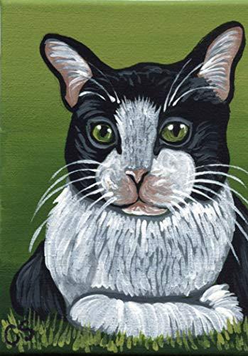 ACEO ATC Original Artist Trading Card-Tuxedo Black and White Pet Cat Art -Carla Smale