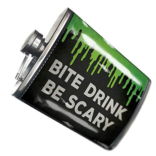 NEONBLOND Flask Bite Drink Be Scary Halloween Green Slime Hip Flask PU Leather Stainless Steel -