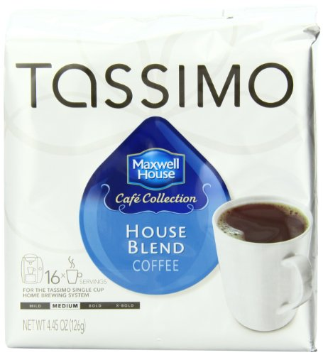 Tassimo MAXWELL HOUSE Cafe Collection, House Blend Coffee, Medium Roast, 16-Count T-Discs, (Pack of 2)