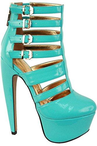 Lolli Couture Triple Strap Platform 6 Inch Hoge Hak Mint-miriam