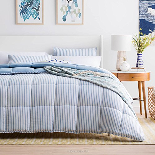 Linenspa Nautical Chambray Comforter Set - Reversible - Down Alternative Fill - Hypoallergenic - All Season - Oversized King - Cloudy Sky Blue