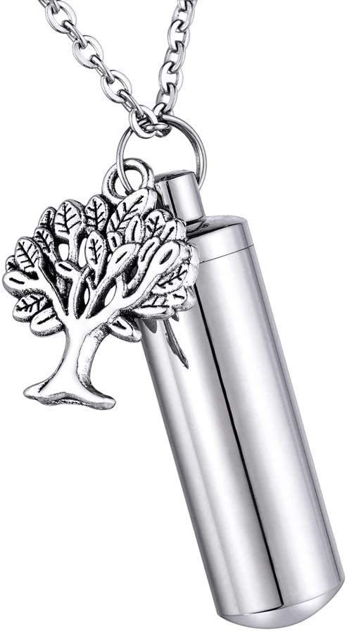 HooAMI Angel with Cylinder Cremation Urn Keychain Keepsake Memorial Ashes Jewelry