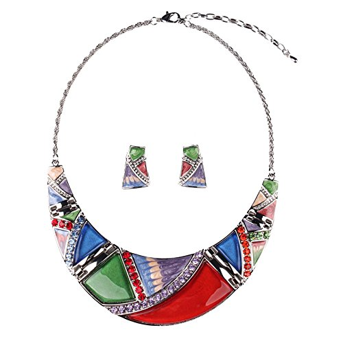 SDLM Elegant Colorful Resin Collar Unique Retro Necklace Earring Sets Jewelry Sets(r)