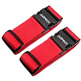 Luggage Straps Suitcase Belts for Travel Bag Accessories 2 Pack (Red)