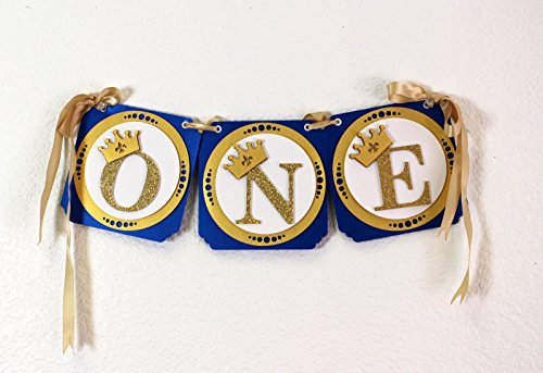 All About Details Royal Blue & Gold Prince Theme One High Chair Banner]()