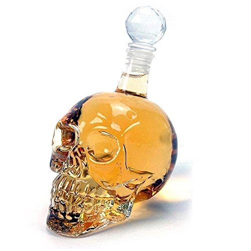 Umiwe Creative Crystal Skull Head Decanter 1000ml Glass Bottle Cup Drinkware for Vodka, Whisky, Beer, Brandy, Liqueur, Juice, and Red Wine with Soft Cork