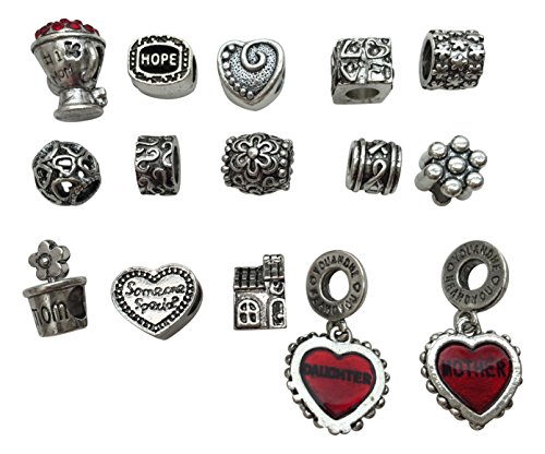 Antique Silver Starter European Charm Bracelet Beads Fits Pandora Jewelry Rhinestone - Daughter & Mom with Red Hearts -