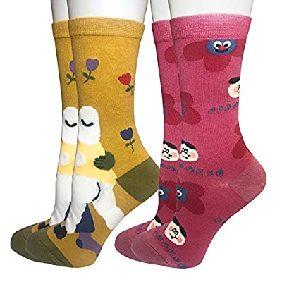 Oureamod Cartoon Animal Womens Girls Cotton Crew Socks 5 Pack (US(5-9), Art style): Clothing