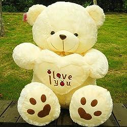 Stuffed Beige Lovely Big Plush Teddy Bear Soft Gift for Valentine Day Birthday