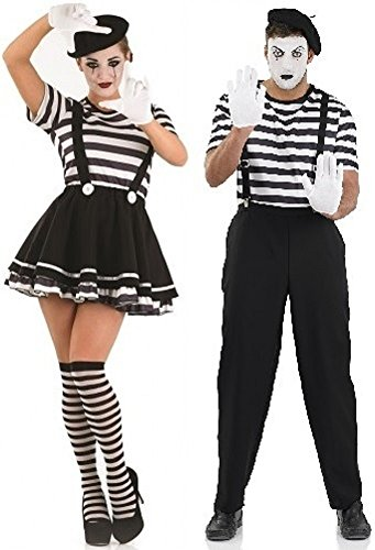 Couples Ladies and Mens French Mime Artist Theatrical Performer Circus Halloween Combo Fancy Dress Party Costumes Outfits Small - Plus Size (Ladies UK 8-10 & Mens XL) -