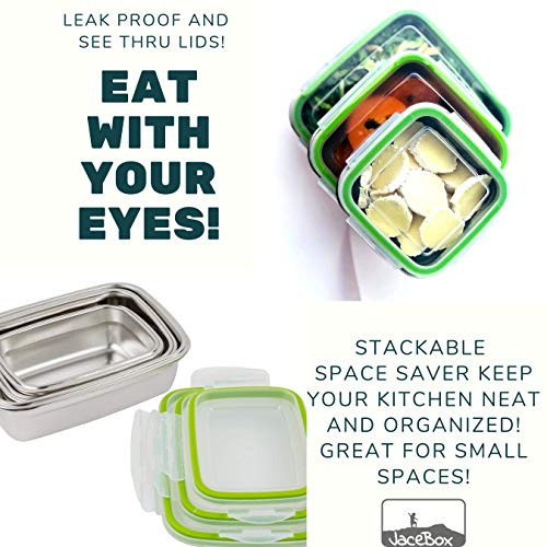 de4b70a252e8 JaceBox Stainless Steel Lunch Containers - LunchBox Container Set LeakProof  Light Easy Stainless Steel Food Containers Storage Set of 3 Stackable ...