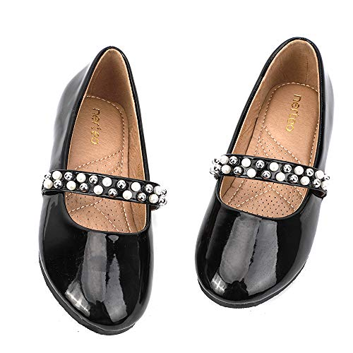 nerteo Girl's Shoes Cute Mary Jane Party Princess Dress Shoes Comfort Walking Flats Black Patent 11 M US Little Kid