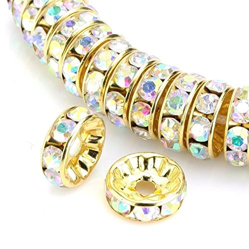 100pcs 10mm Top Quality A Rhinestone Rondelle Spacer Beads (Crystal AB) Austrian Crystal 14K Gold Plated Brass Round Metal Beads CF7-1002