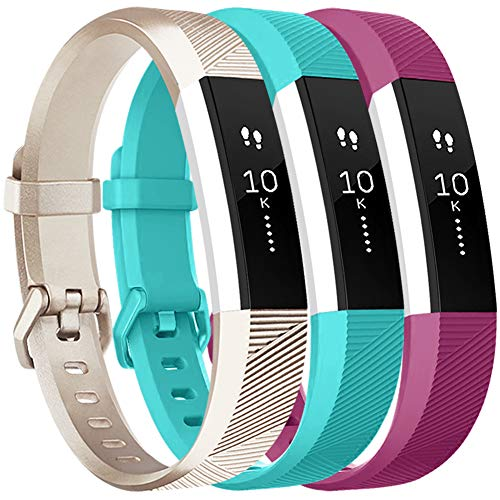 Vancle Bands Replacement for Fitbit Alta HR and Fitbit Alta (3 Pack), Newest Sport Replacement Wristbands with Secure Metal Buckle for Fitbit Alta HR/Fitbit Alta (Teal Gold Purple, Small)