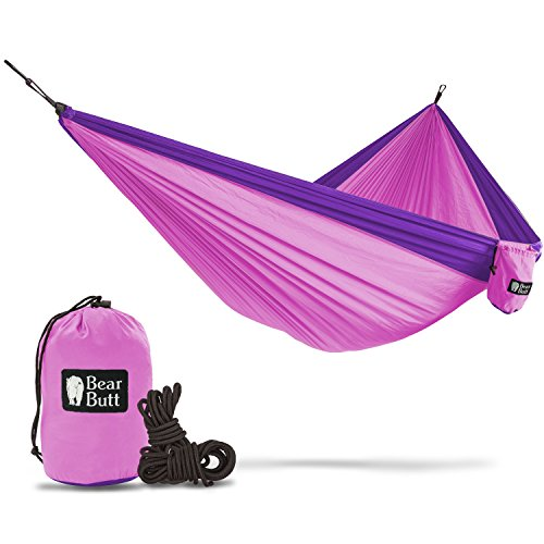 Price comparison product image Bear Butt Double Parachute Hammock - You Want Some Hammocks Then You Need Our Camping Hammock - 2 yr Company On Amazon - The Reviews Say It All - Grab One While They Are Hot (Hot Pink / Purple)