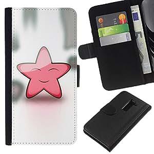 All Phone Most Case / Oferta Especial Cáscara Funda de cuero Monedero Cubierta de proteccion Caso / Wallet Case for LG G2 D800 // Star Pink Cute Friendly Art Sky Dream Fairytale