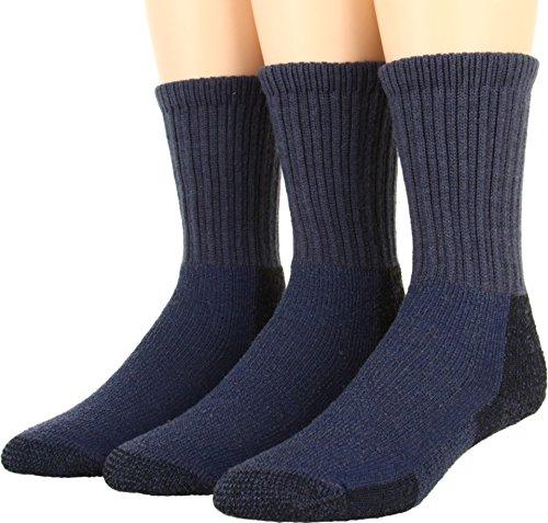 Thorlos Unisex Thick Cushion Hiking Wool Blend 3-Pack Dark Blue Socks LG (Men's Shoe 10.5-11.5)