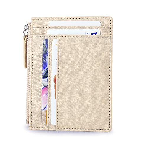 SERMAN BRANDS - Womens Wallet RFID Blocking Credit Card Holder Slim Minimalist Wristlet Card Case Wallet with Zipper Pocket - Removable Wristlet Strap (Nu CH)