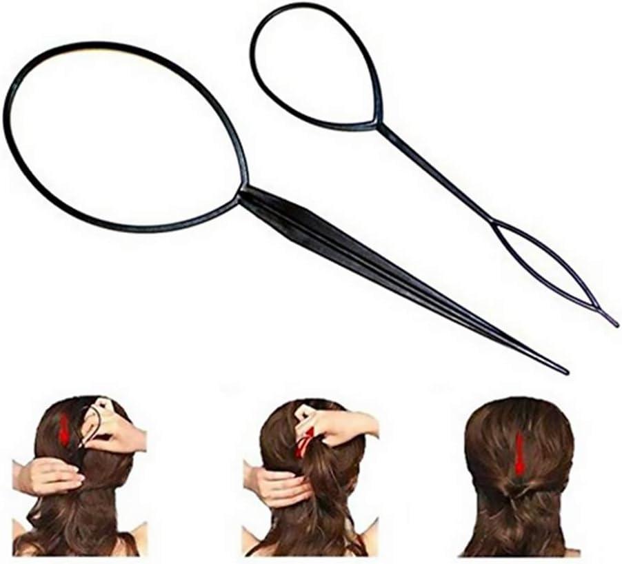 mi ji Belleza 2pcs Topsy Tail labra la herramienta del pelo de la trenza de pelo accesorios para el cabello Cola de caballo herramienta del fabricante de cola de caballo para la Mujer (Negro)