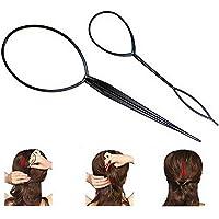 Beito 2pcs Topsy Tail labra la herramienta del pelo de la trenza de pelo accesorios para el cabello Cola de caballo herramienta del fabricante de cola de caballo para la Mujer (Negro)